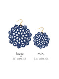 Mandala Earrings - Large - Hawk Navy