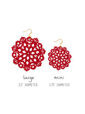 Mandala Earrings - Large - Siren Red - K. Johnson Jewelry LLC