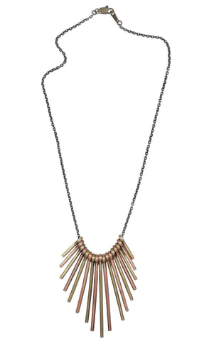 Metal Fan Necklace - Tri-Tone