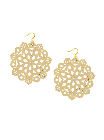 Mandala Earrings - Large - Vanilla - K. Johnson Jewelry LLC