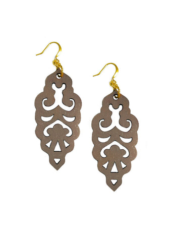 Filigree Earrings - Warm Taupe - Large - K. Johnson Jewelry LLC