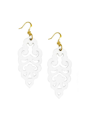 Filigree Earrings - Bright White - Large - K. Johnson Jewelry LLC