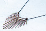 Metal Fan Necklace - Tri-Tone - K. Johnson Jewelry LLC