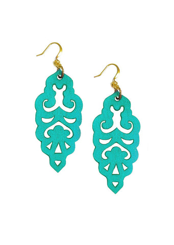 Filigree Earrings - Turquoise - Large