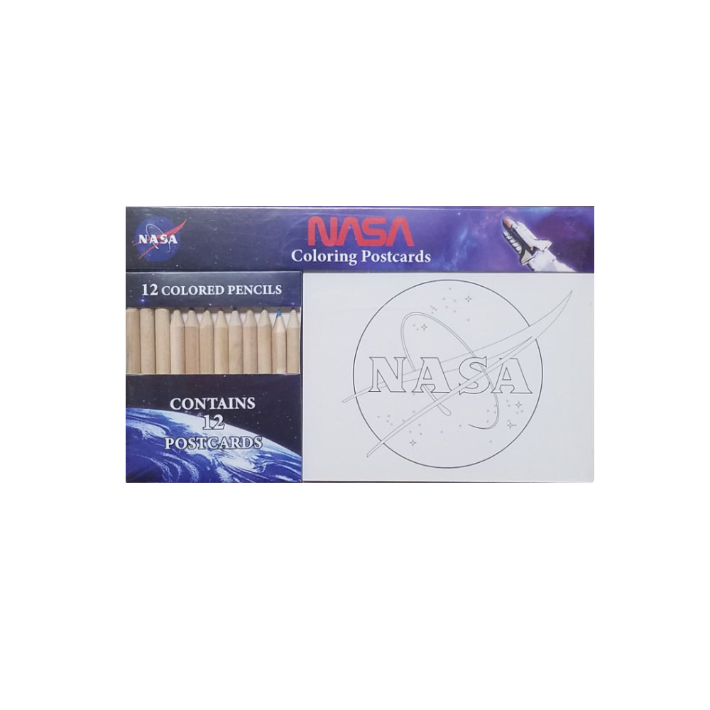 NASA Coloring Postcards with Colored Pencils