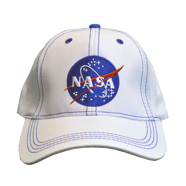 White NASA Cap with Blue Stitching