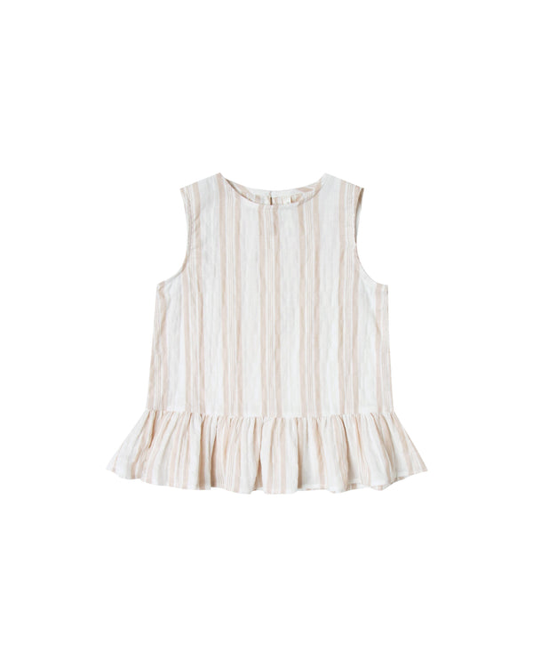 Rylee + Cru - Carrie Blouse Coconut /Sand Stripe