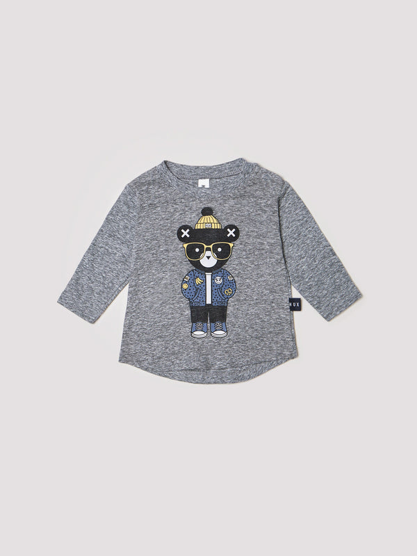 HUXBABY - Huxbear Charcoal Longsleeve Top *PREORDER*