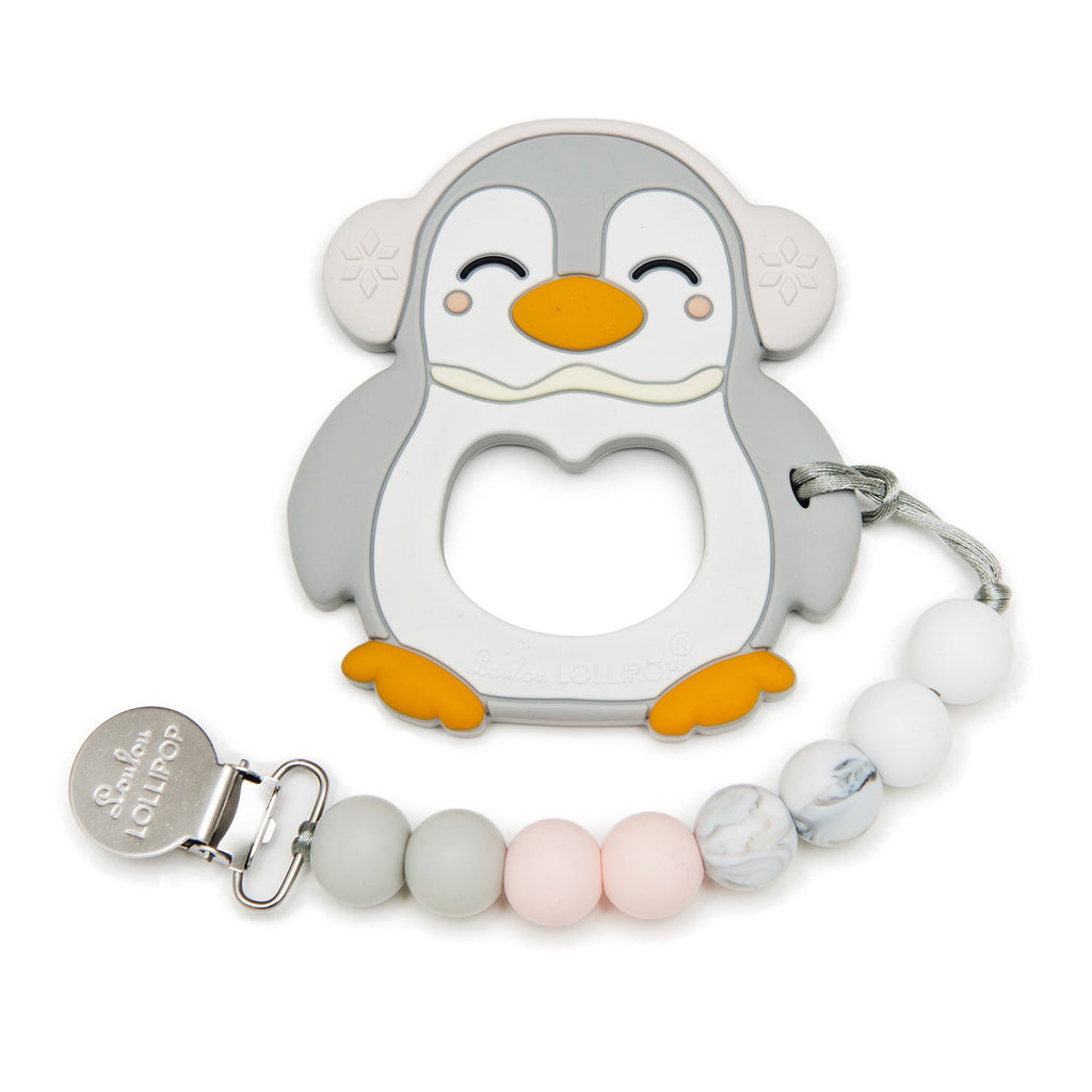 Loulou Lollipop - Grey Penguin Silicone Teether Set