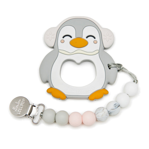 Loulou Lollipop - Penguin Silicone Teether Set (Grey)