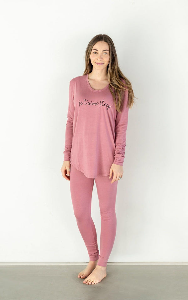 Bambi & Birdie - Ladies Thermal Legging PJ Set Je t'aime Sugarplum