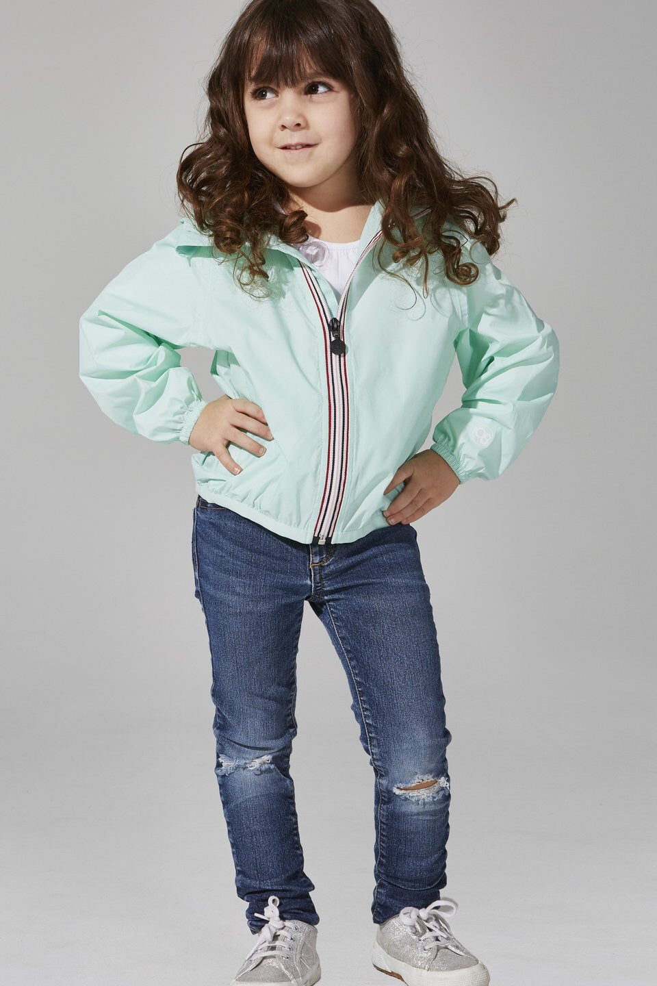 O8lifestyle - Kids Mint Full Zip Packable Rain Jacket