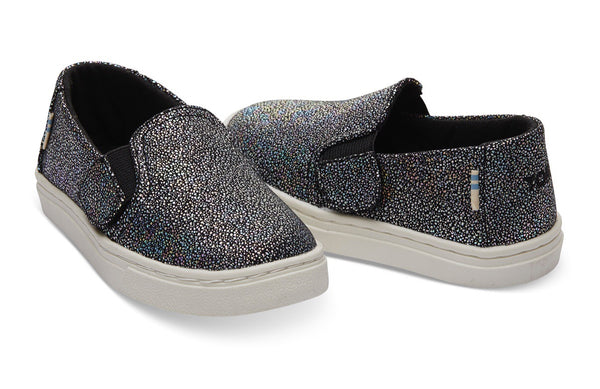 TOMS - Black Iridescent Droplets Tiny TOMS Luca Slip-Ons