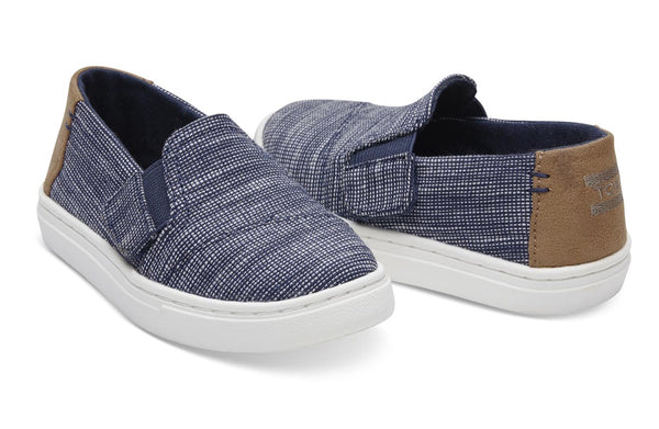 TOMS - Navy Striped Chambray Tiny TOMS Luca Slip Ons