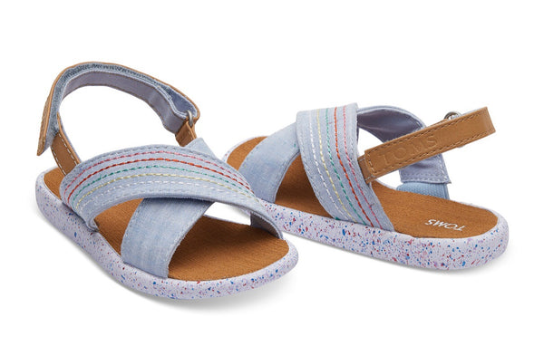 TOMS - Light Blue Chambray Deco Stitch Tiny TOMS Viv Sandals