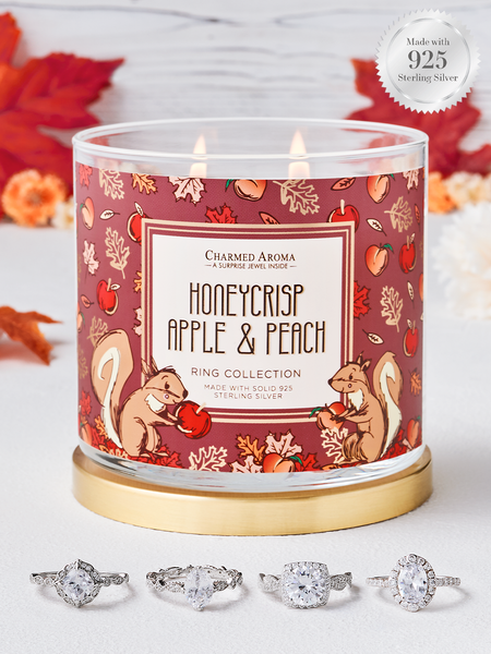 Honeycrisp Apple & Peach Candle - 925 Sterling Silver Classic Ring Collection