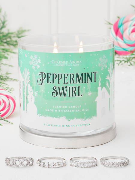 Peppermint Swirl Candle - Stackable Ring Collection