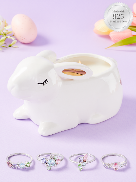 Bougie Lapin Queue de Coton - Collection Bague Pastel