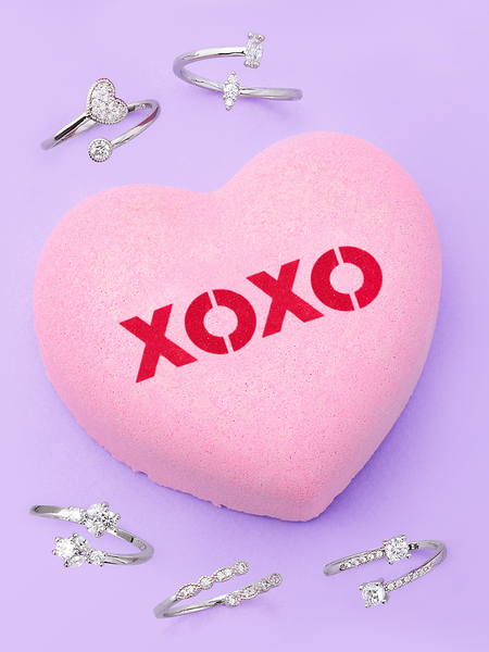 XOXO Conversation Heart Bath Bomb - Adjustable Ring Collection