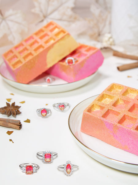 GÉANT Bombe de Bain Gaufre à la Cannelle - Collection de Bagues Ombre Rose et Orange