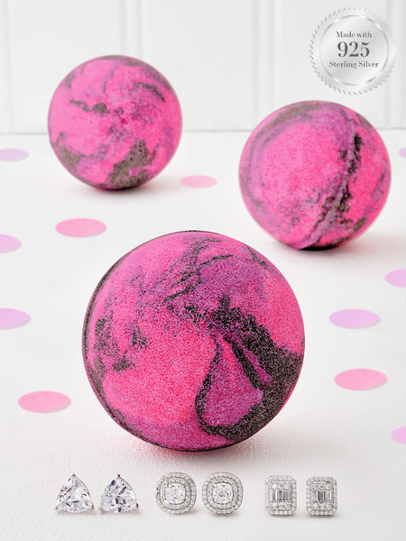 Black Cherry Bath Bomb - 925 Sterling Silver Earring Collection