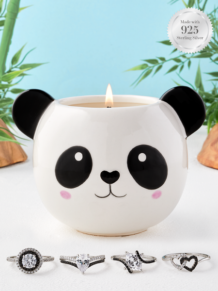Panda Candle - 925 Sterling Silver Black & White Ring Collection