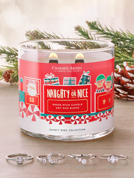 Naughty or Nice Wooden Wick Candle - Dainty Ring Collection