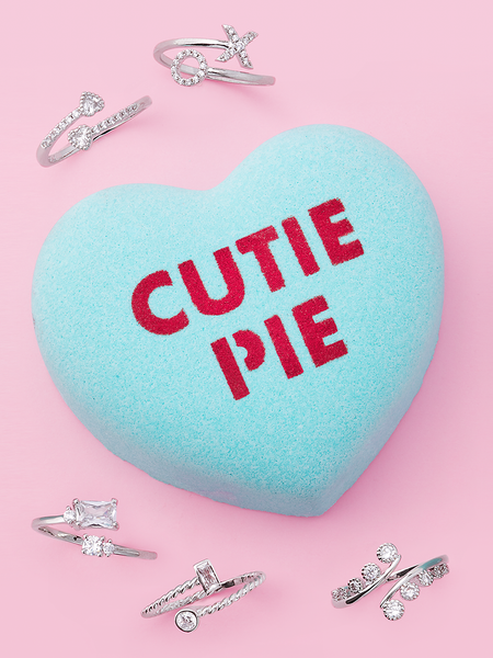 Cutie Pie Conversation Heart Bath Bomb - Adjustable Ring Collection