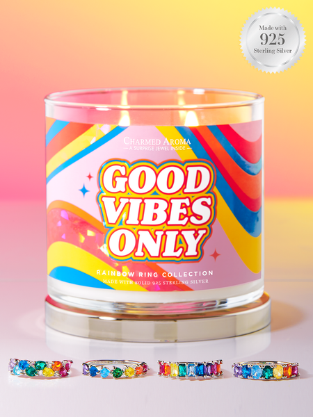 Good Vibes Only Candle - 925 Sterling Silver Rainbow Ring Collection