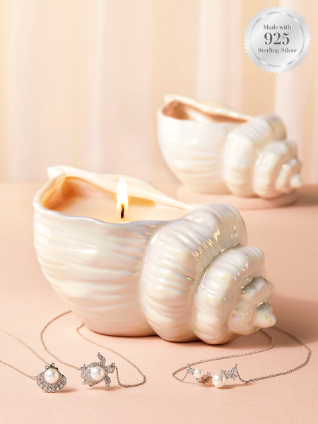 Seashell Dreams Candle - 925 Sterling Silver Pearl Necklace Collection