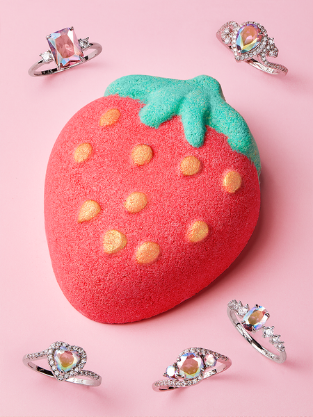 Strawberry Bath Bomb - Pink Aurora Ring Collection