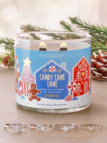 Candy Cane Lane Wooden Wick Candle - Dainty Ring Collection