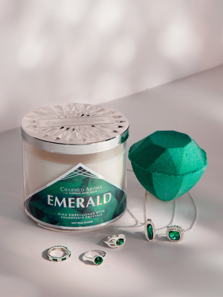 Emerald Birthstone Set - Ring & Necklace Collection Made With Crystals From Swarovski
