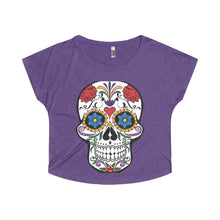 Women's Candy Skull Tri-Blend Dolman - voyage Athletics
