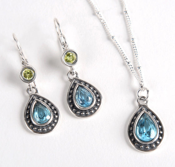 Blue Topaz and Peridot