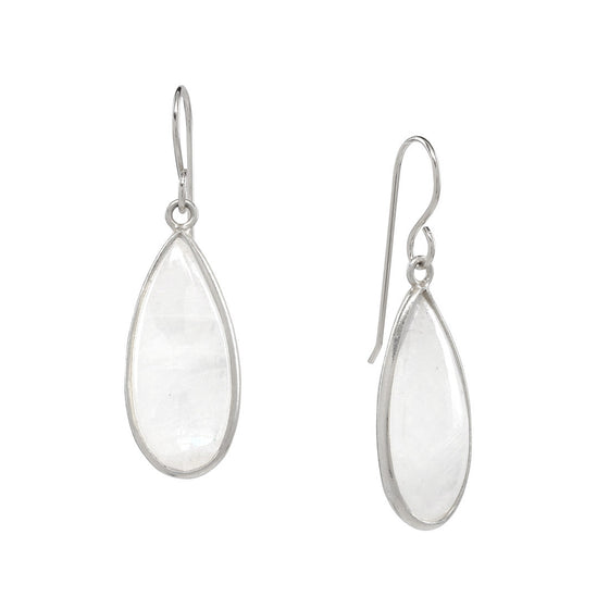 Rainbow Moonstone Drops in silver