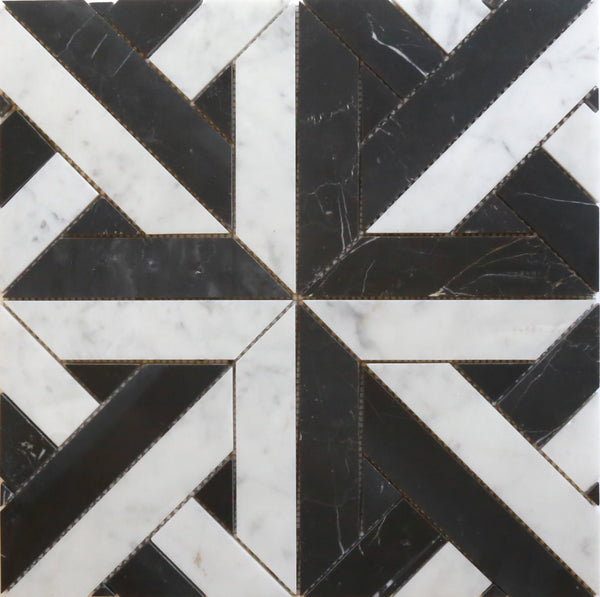 Bianco Carrara + Nero Marquina Marquee Cross Honed Mosaic