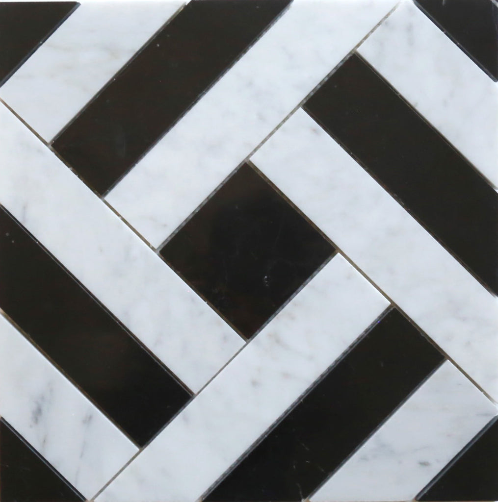 Bianco Carrara + Nero Marquina Polished Zulu Mosaic