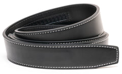 Black Contrast Stitch Leather Belt - Strap Only