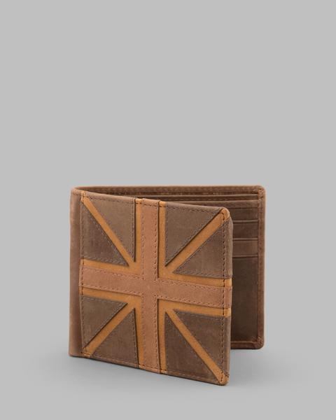 Brown Hunter Leather Union Jack Wallet a