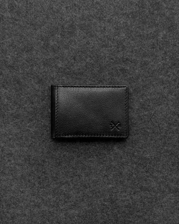 Black Apollo Leather Travel Card Holder a