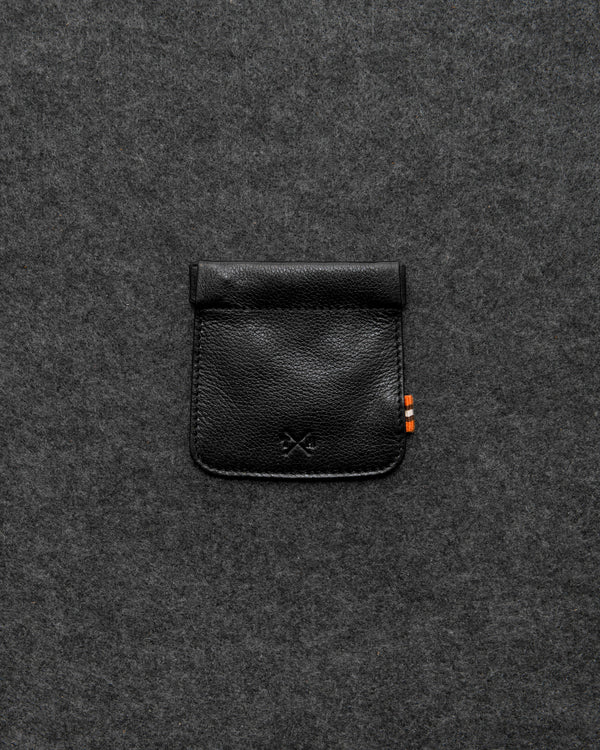 Black Apollo Leather Snap Top Coin Pouch a