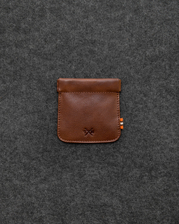 Brown Apollo Leather Snap Top Coin Pouch a