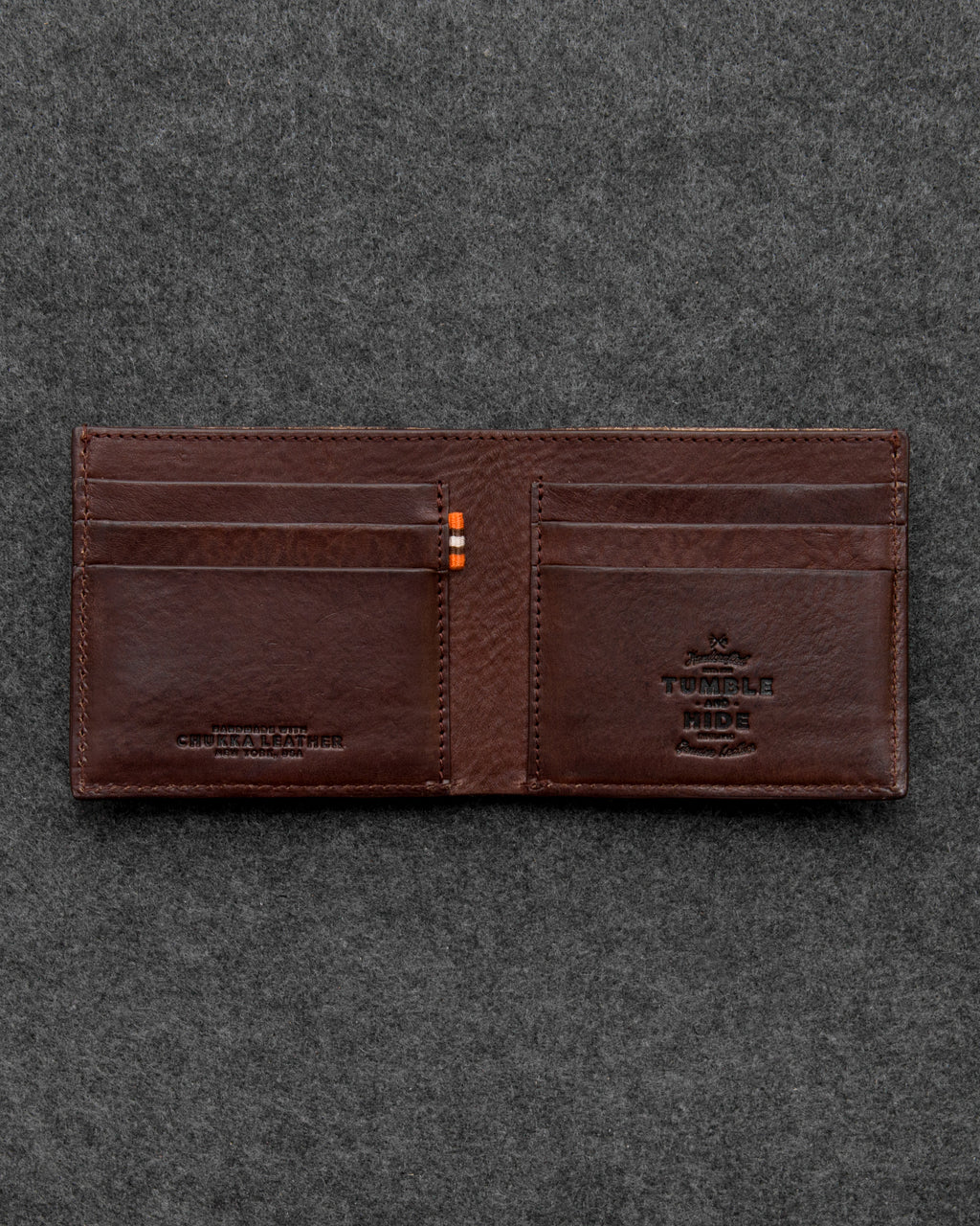Brown Chukka Leather East West Bifold Wallet by Tumble and Hide a