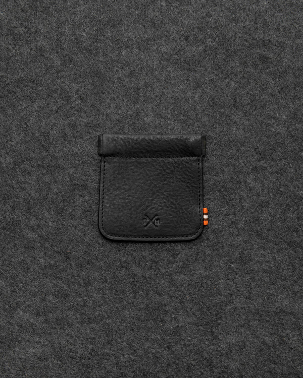 Black Chukka Leather Snap Top Coin Pouch a