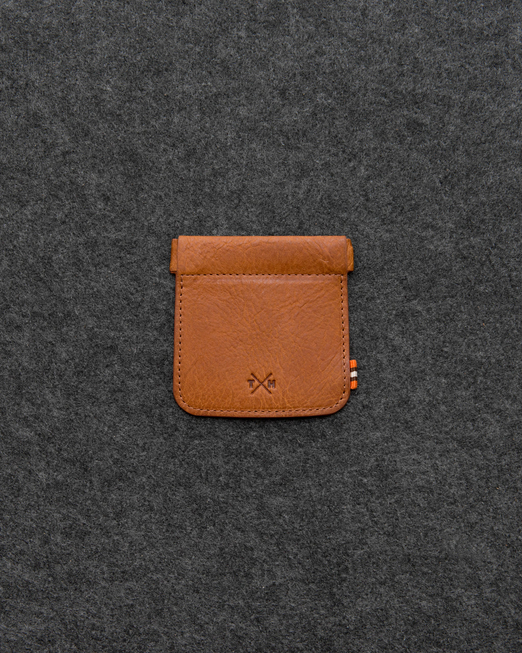Tan Chukka Leather Snap Top Coin Pouch a