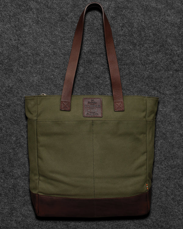 Brown Chukka Leather And Canvas Shopper Bag