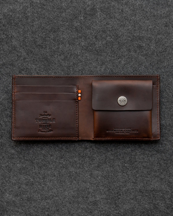 Brown Horween Leather Coin Pocket Wallet a