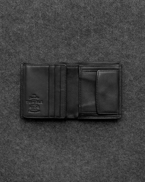 Black Newton Leather Abridged Wallet a