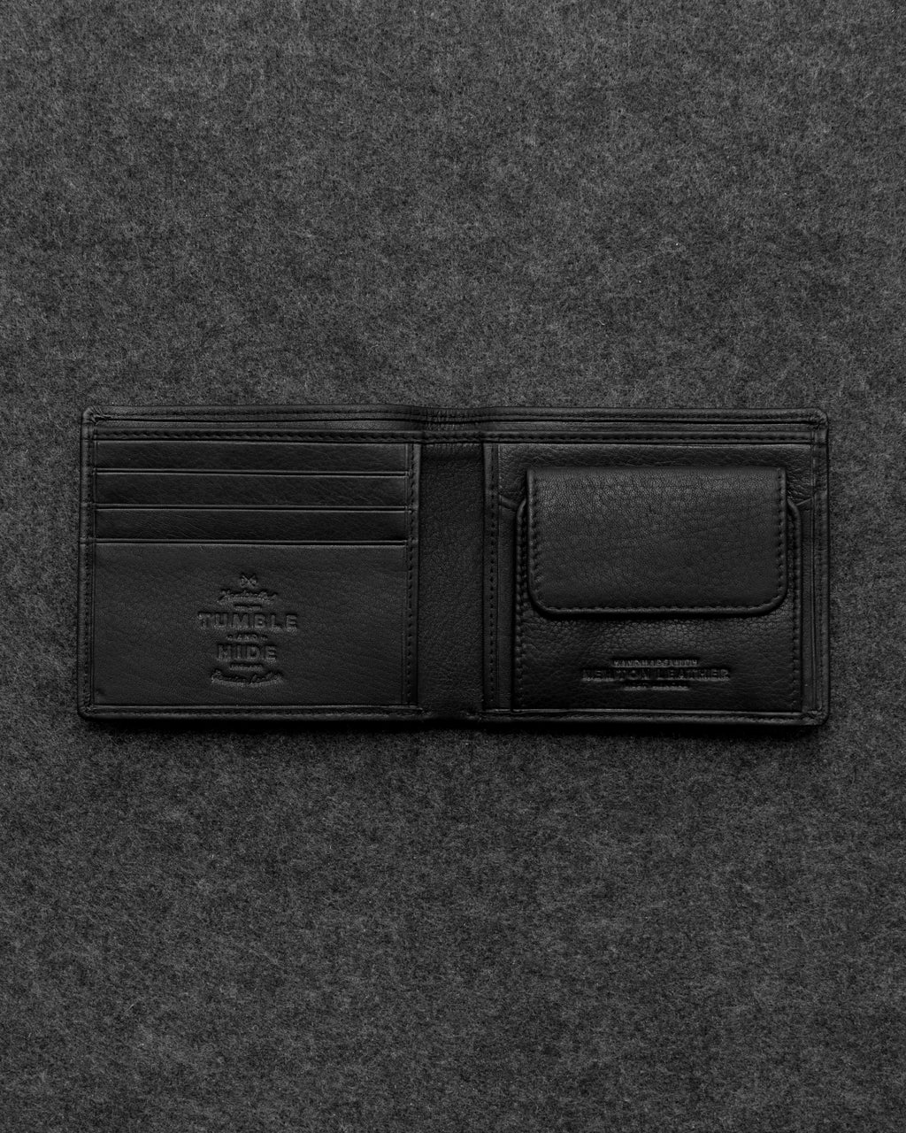 Black Newton Leather Basal Coin Pocket Wallet a